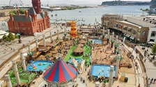 Aerial shot of Cardiff Bay's urban beach