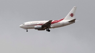 An Air Algerie Airways plane prepares to land at Houari Boumediene Airport in Algiers.