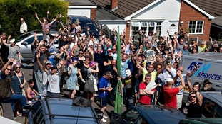 Hundreds of strangers gathered outside Tom Crawford's Nottingham home.