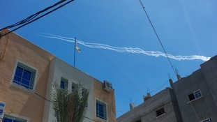 The trail from what are believed to be rockets fired by Hamas from inside Gaza.
