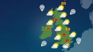 Heavy downpours are expected in the south-east.