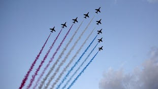 The Red Arrows fly over Celtic Park, during the 2014 Commonwealth Games Opening Ceremony