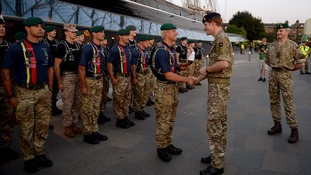 Prince Harry meets Royal Marines at Cutty Sark