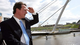 David Cameron on the River Tyne in 2006.