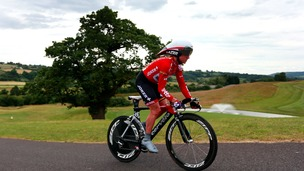 Emma Pooley riding in the National Time Trial Championships