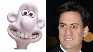 Split screen Wallace of Wallace & Gromit and Ed Miliband