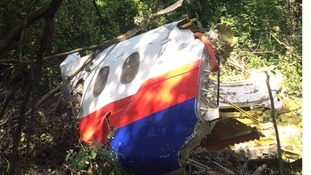 A mangled section of the plane was discovered in a forest near the main crash site in Grabovo, eastern Ukraine.
