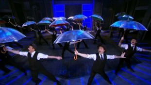 Screengrab from Singin' in the Rain at the Bristol Hippodrome