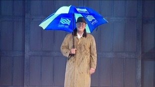Weatherman Bob Crampton with Met Office umbrella