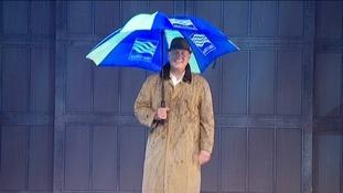 Weatherman Bob Crampton with Met Office umbrella