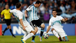 The political banner was unfurled before Argentina beat Slovenia 2-0 with Lionel Messi scoring the second goal.