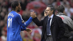 Didier Drogba (L) pictured with Chelsea boss Jose Mourinho in his previous term