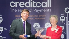 Mrs Mary Prior MBE JP, Her Majesty's Lord-Lieutenant of Bristol presents Creditcall CEO Peter Turner with Queens Award for International Trade 2014
