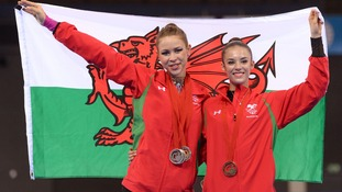 Francesca Jones shows off her medals alongside Laura Halford.