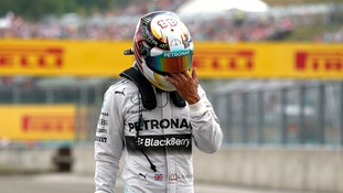 Lewis Hamilton after his car caught fire at the Hungarian F1 Grand Prix.