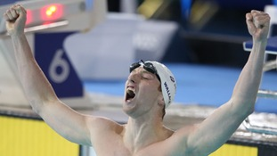 Daniel Wallace celebrates winning the Men's 400m Individual Medley.