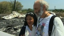 Parents of MH17 passenger pay tribute at crash site