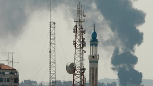 Smoke is seen rising in the east of Gaza after Hamas broke a proposed 24-hour truce in the city.
