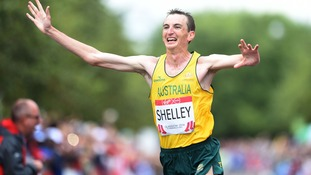 Australia's Michael Shelley winning the marathon in Glasgow this morning.