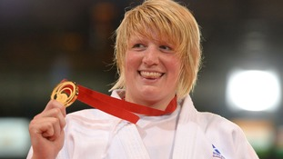 Sarah Adlington holding the gold which temporarily went missing.