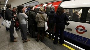 A crowded tube platform.