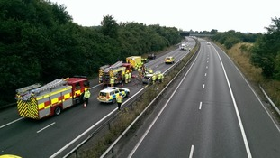 Rescue crews on the M2 in Kent