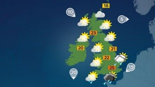 Temperatures will reach a high of 25C in the south.