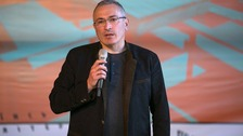 Mikhail Khodorkovsky speaking in Donetsk, Ukraine, in April.