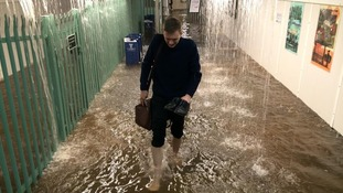 Worthing train station under water