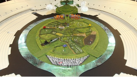 A scale model of the scenery.