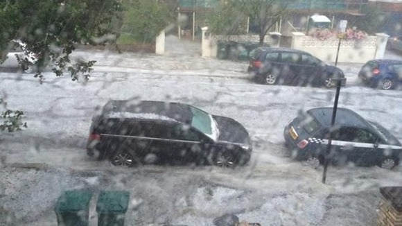 Heavy rain hammers Brighton and Hove.