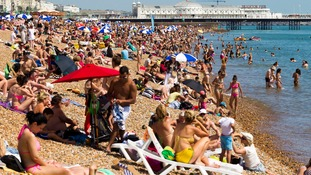 A packed Brighton beach on July 17.