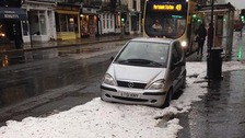 It looks more like winter in Hove as hail hits.
