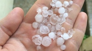 Hail stones which caused havoc along the south coast.