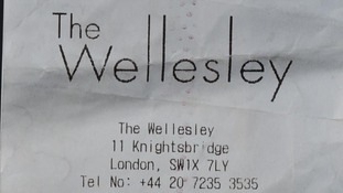 Edward Heaton's receipt from the Wellesley Hotel