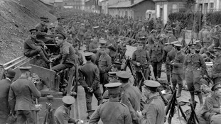 British soldiers from the Royal Welch Fusiliers and the Cheshire Regiment pictured in Belgium, August 1914.