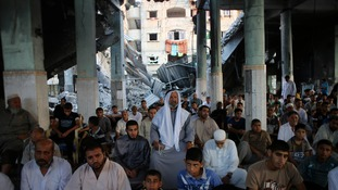 Worshippers in a mosque, which witnesses said was hit by an Israeli air strike, in Rafah.