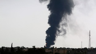 Smoke rises in the sky near Tripoli