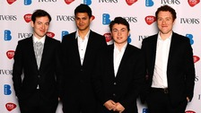 Jamie MacColl, Suren de Saram, Ed Nash and Jack Dteadman of the Bombay Bicycle Club at the 2011 Ivor Novello awards.