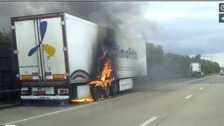 Trailer on fire on motorway