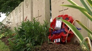 The final resting place of Private Hoonan, with a message from his great-great niece.