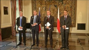 Foreign Secretary Philip Hammond and Defence Secretary Michael Fallon in Warsaw today.