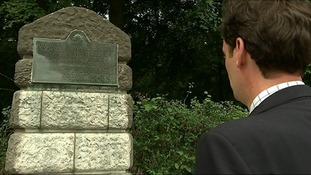 Paul Thomas looks at a monument to the skirmish in which his great-grandfather took part.