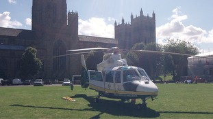 GNAA lands outside Durham Cathedral airlift critically ill patient.