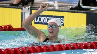 Jazz Carlin celebrates victory in the 800m freestyle.