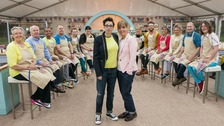 The Great British Bake Off Sue Perkins (centre left) and Mel Giedroyc (centre right), in front of the twelve new contestants.