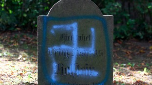 Grave with Nazi graffiti