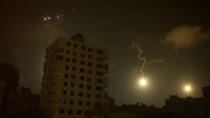The view from Dan Rivers' hotel in Gaza overnight.