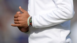 England batsman pictured wearing the wristbands during a test match against India.