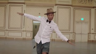 Pharrell shows off his moves in the original video.